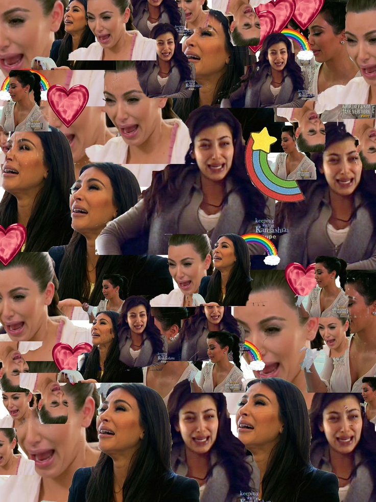 a collage of kim kardashian crying