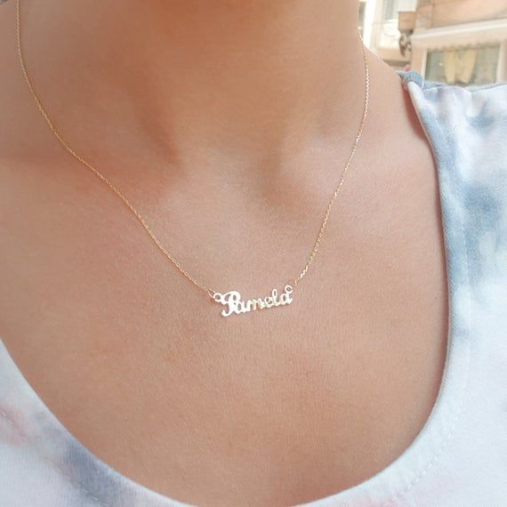 Tiny Name Necklace Personalized Name Jewelry Dainty Custom Etsy Name Necklace Name Jewelry Tiny Necklace
