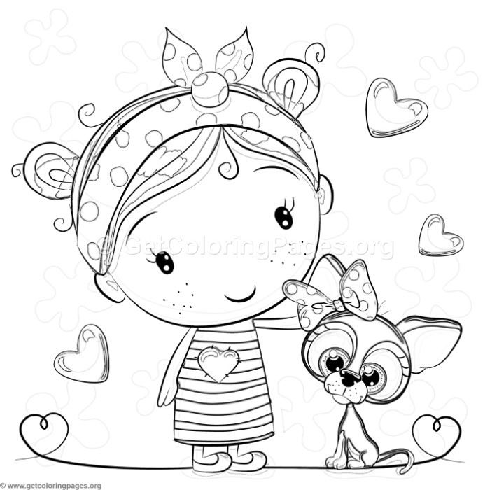 Free Download Little Girl And Dog Coloring Pages Coloring