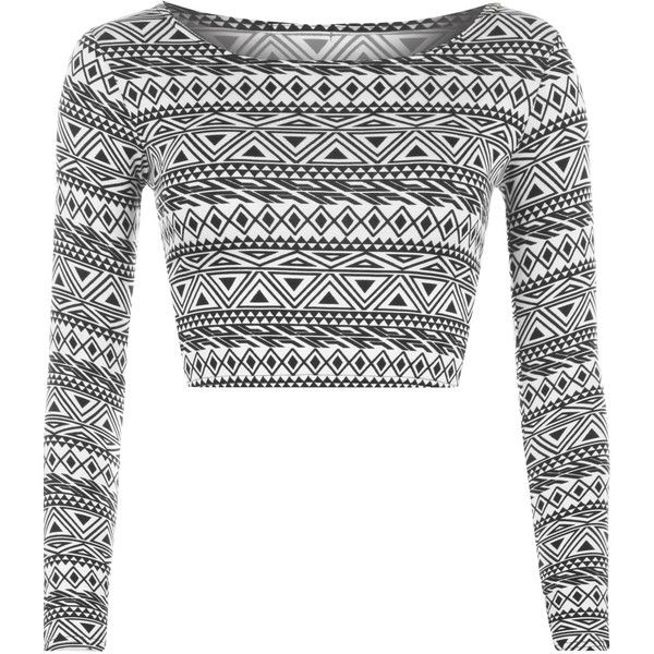 Rae Aztec Print Crop Top (17 AUD) ❤ liked on Polyvore featuring tops, aztec, long sleeve tops, short tops, aztec top, scoop neck crop top and long sleeve crop top