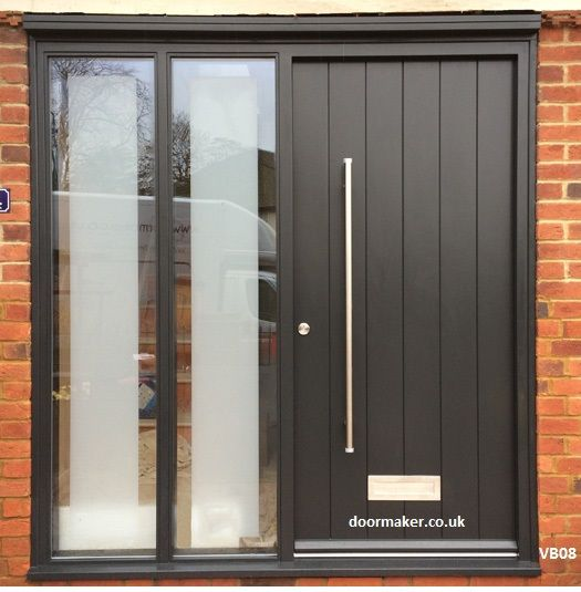 contemporary grey door with sidelights