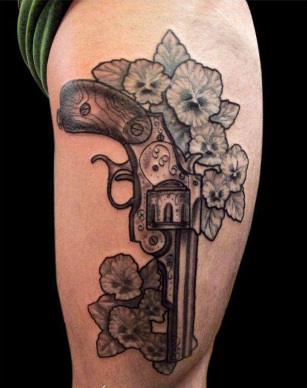 2017 trend Women Tattoo - 137 Fantastic Gun Tattoos That Hit Their Mark... Check more at https://tattooviral.com/women-tattoos/women-tattoo-137-fantastic-gun-tattoos-that-hit-their-mark-4/