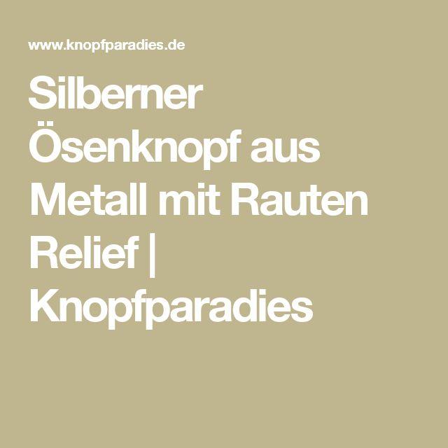 Silberner Ösenknopf aus Metall mit Rauten Relief | Knopfparadies