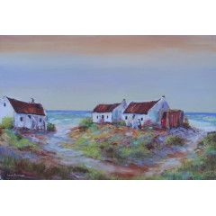 Fisherman's Cottages (oil on stretched canvas: 900mm x 600mm x 30mm)