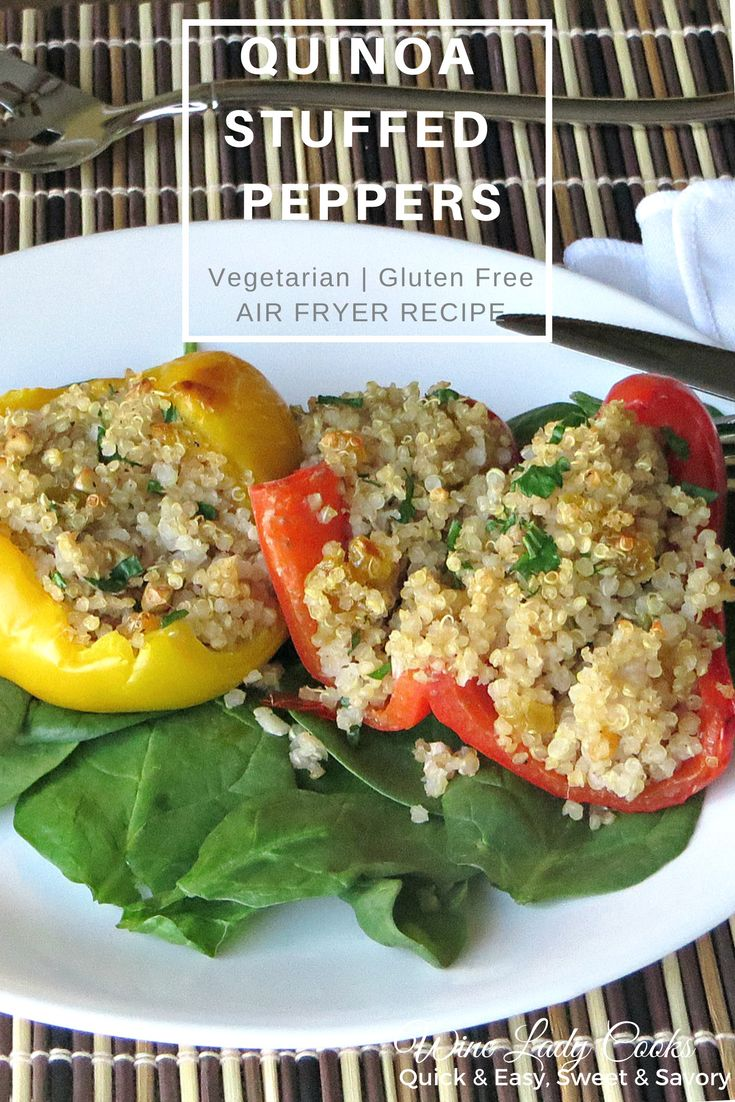 Air Fryer Quinoa Stuffed Peppers Recipe is a delicious vegetarian, quick and easy. Click thru for details. #airfryer #stuffedpeppers #easyrecipe #meatlessmonday