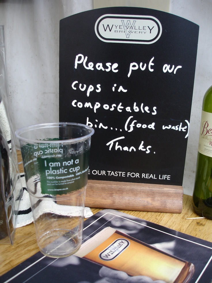Great message from Wye Valley Brewery about the disposal of Biopac's 'I am not a plastic cup' tumblers.