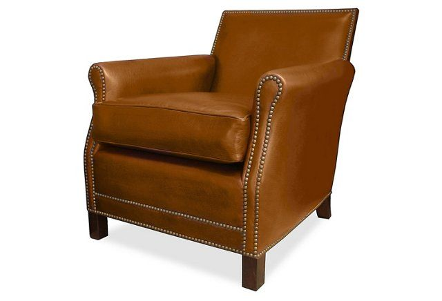 Palisades Leather Club Chair, Honey