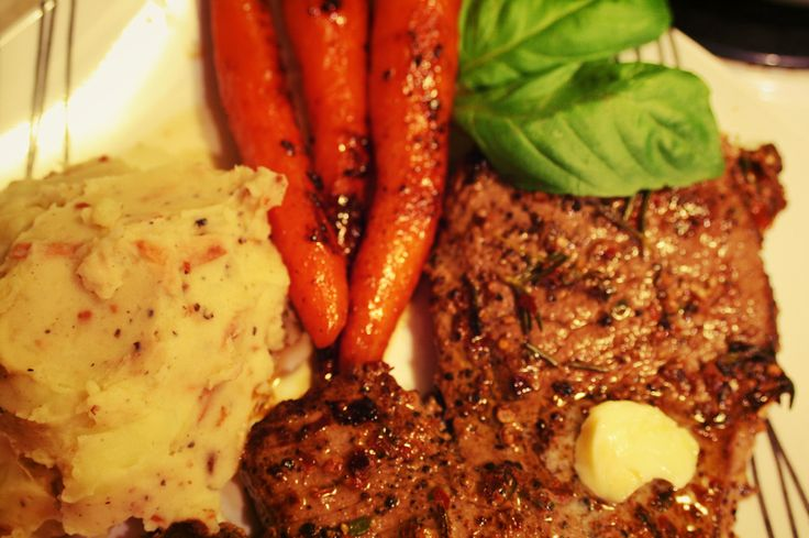 Gluten Free Rosemary & Thyme Fusion Steak with BFT (Bacon, Fig & Truffle Oil) Mashed Potatoes and Glazed Carrots with an Anise Hyssop Reduction