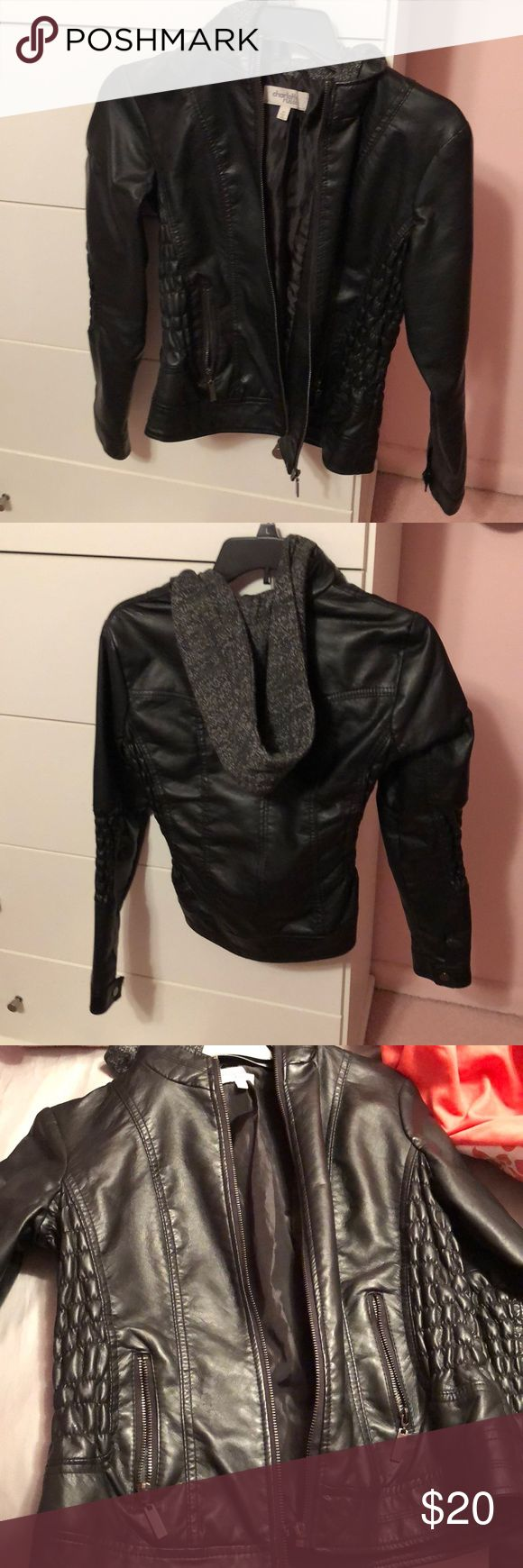 Faux leather jacket! This black faux leather jacket is from Charlotte Russe! It is very comfortable, and even has a hood! The hood is not the faux leather material, it is cotton. Size: small. Only worn a few times, no marks! True to size! Charlotte Russe Jackets & Coats