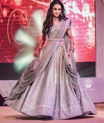 Sangeet Lehengas - Grey Lehenga with A Grey net Dupatta and Waistbelt   WedMeGood #wedmegood #indianbride #indianwedding #bridal #grey #sangeetlehenga #lehenga #lehanga