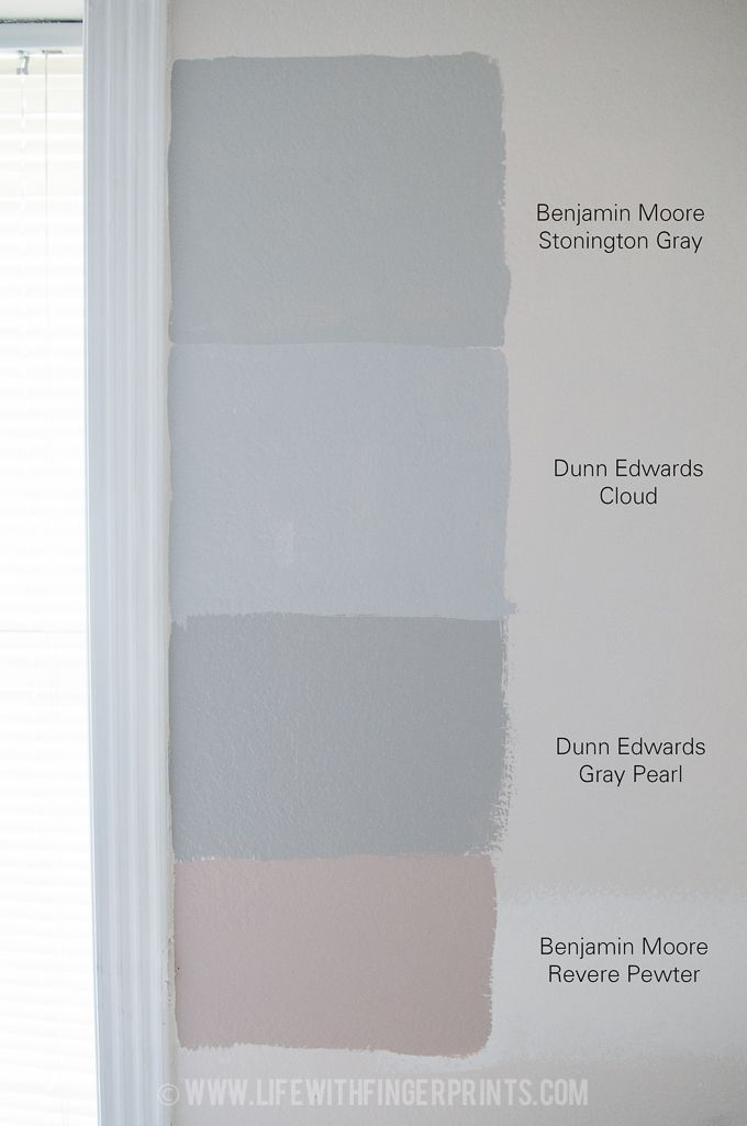Life with Fingerprints: Determining what gray to paint the bedroom; Dunn Edwards Gray Pearl, Dunn Edwards Cloud, BM Revere Pewter, BM Stonington Gray