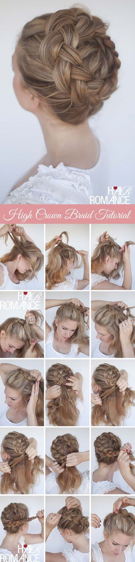 Best Hair Braiding Tutorials - High Braided Crown Tutorial - Easy Step by Step Tutorials for Braids - How To Braid Fishtail, French Braids, Flower Crown, Side Braids, Cornrows, Updos - Cool Braided Hairstyles for Girls, Teens and Women - School, Day and Evening, Boho, Casual and Formal Looks http://diyprojectsforteens.com/hair-braiding-tutorials