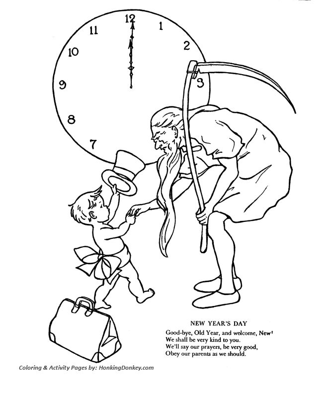 Father Time Coloring Pages