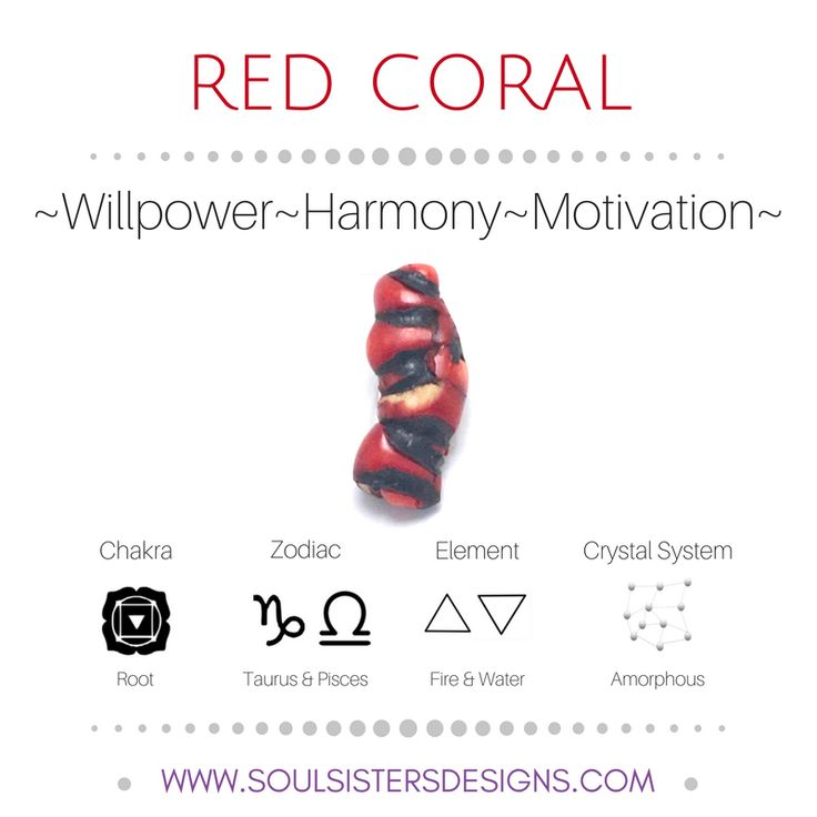 Metaphysical Healing Properties of Red Coral, including associated Chakra, Zodiac and Element, along with Crystal System/Lattice to assist you in setting up a Crystal Grid. Go to https://www.soulsistersdesigns.com/red-coral to learn more!