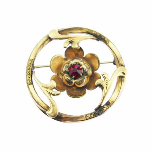 Large Gold Flower Circle Brooch with Red Rhinestone
