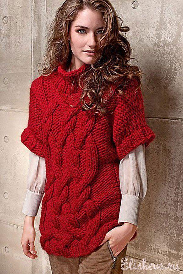 Красный свитер с крупным узором вязаный спицами