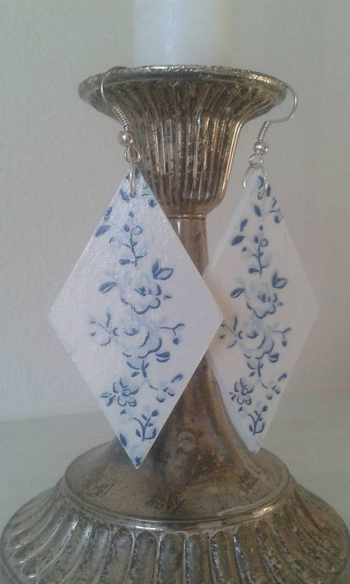 tinuszDecorArt / Náušnice modrá ruža