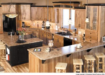 Long View Of Kitchen Cabinets With Dark Crown Moulding Also Love The Black Painted Island Need To Figure Cabins Should Be Rustic Yet Charming In