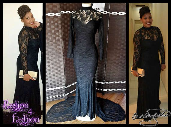 A full black lace matric farewell dress in a soft mermaid style. Suitable not only for a matric dance but also a Grade 7 Farewell Dress.