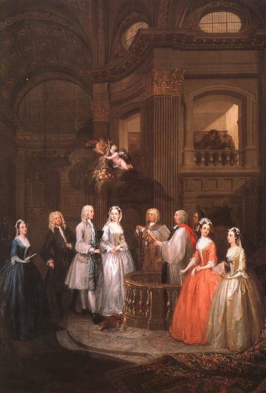 <스티븐 베킹엄과 메리 콕스의 결혼식>,호가스, 1729. 신부 앞에서 결혼식을 올리는 모습이다. 사랑의 천사 에로스의 축복이 내리고 있다. 신랑은 들 떠 보이는 데, 신부는 입을 꼭 다물고 다소 긴장한 표정이다. 하지만 신랑이 뻗은 손 위에 하얀 손을 살포시 올리는 것이 다정함이 전해진다. 떨리고 숙연한 마음을 신랑에 의지하려는 것 같기도 하다. 신부의 친구일까? 결혼식을 축하해 주러 온 여인들이 신부보다 더 설레면서 미소짓는 것이 재미있다.
