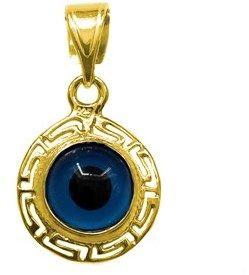 JewelryAffairs Greek Key Theme Double Sided Evil Eye Pendant In Sterling Silver 18 Karat Gold Overlay.