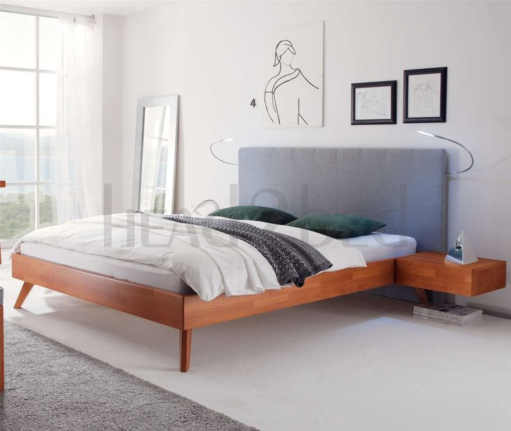 Hasena Leno Sogno Solid Beech Real leather Bed Leather