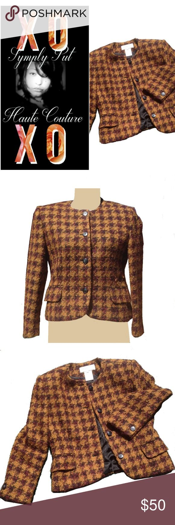 VINTAGE CHIC Wool Tweed Blazer -Caramel Black Plum Timeless vintage flair made modern in a snap paired with boyfriend button down shirt, classic chino shorts, and slides, a graphic tank, rolled cuff distressed denims, and booties or with a lacey bralette top, leather pencil skirt, and strappy stiletto heels. Working pockets. Padded shoulders. Fully lined. 99% wool. RN 54050. Comparable creations by high-end brands retail $150–$4K+. No holds/trades/off app transactions- firm. All sales…