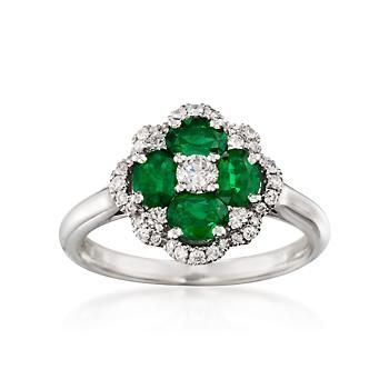 Ross-Simons - Gregg Ruth .74 ct. t.w. Emerald and .37 ct. t.w. Diamond Floral Ring in 18kt White Gold. Size 6.5 - #825269