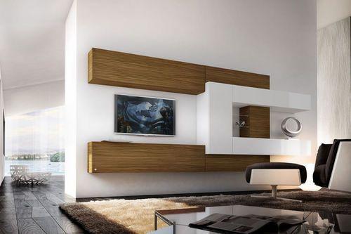 Moderne Wohnwand Holz : Moderne Wohnwand aus lackiertem Holz PRO622642 Pescarollo Industria