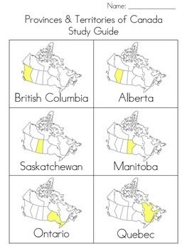 Practice! Practice! Practice! I designed this package to help my students study Canada's provinces, territories, and bodies of water (incl. the 10 provinces, 3 territories, and the Pacific Ocean, Arctic Ocean, Atlantic Ocean, Hudson Bay, & The Great Lakes).