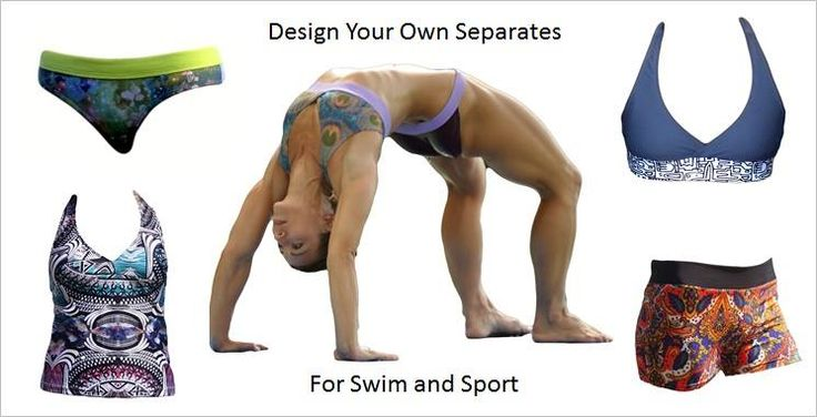 Design your own SEPARATES means that you can order a top two sizes larger than your bottom, or a bottom two sizes larger than your top. At no extra cost. And that you can have the whole suit made in your favorite colors. Also at no extra cost. http://www.nayadswimgym.com/Shop.html