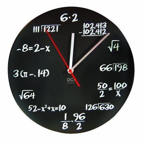 "DCI Matte Black Powder Coated Metal Mathematics Blackboard Pop Quiz Clock 11-1/2"" Diameter"