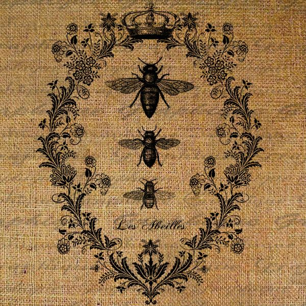 Bees French Digital Collage Sheet Word Writing Queen Bee Crown Frame Burlap Download Fabric Transfer