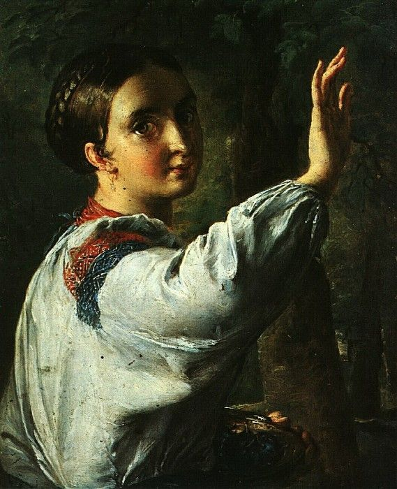 Девушка-украинка, собирающая сливы. 1820-е. Василий Андреевич Тропинин