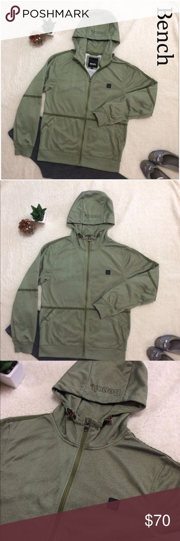 Bench Army Green Full Zip Hoodie Jacket - NWOT Fantastic medium weight Jacket from Bench. Great fall color and very light even though it's warm. Perfect condition Bench Jackets & Coats