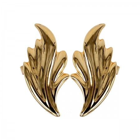 Lacrom Store || Claudia Baldazzi, Accessories, Ermes Ear Cuff  Large fire wings in golden (24kt) brass, silver back-welded pins and ear hooks.