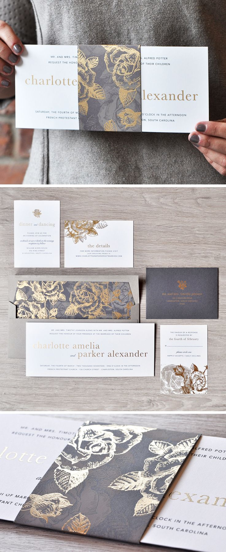 A stunning gold and grey wedding invitation design from Engaging Papers. What do we love most? The floral pattern and belly band!   http://engagingpapers.com/shop/charlotteinvitation/