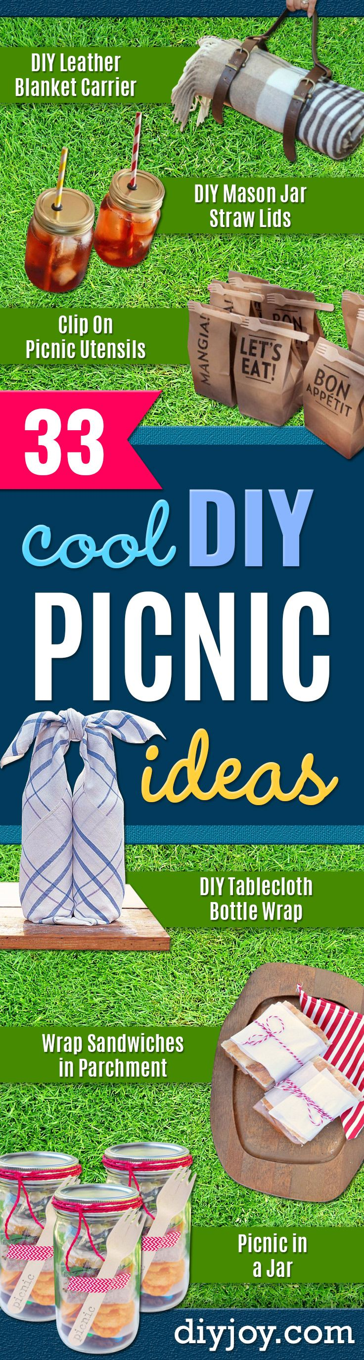 DIY Picnic Ideas - Cool Recipes and Tips for Picnics and Meals Outdoors - Recipes, Easy Sandwich Wraps, Blankets, Baskets and Carriers to Make for Fun Family Outings and Romantic Date Ideas - Mason Jar Drinks, Snack Holders, Utensil Caddy and Picnic Hacks http://diyjoy.com/diy-picnic-ideas