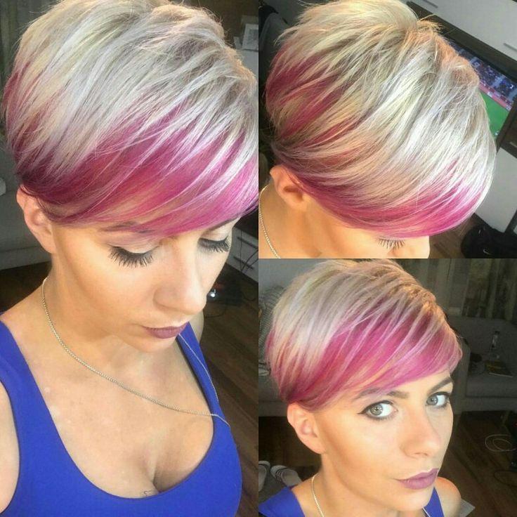 #pixiecut #blondhair #pinkaccent