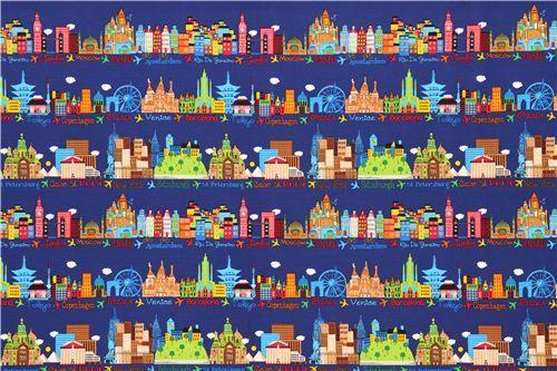 navy blue London New York Tokyo Paris fabric by Timeless Treasures