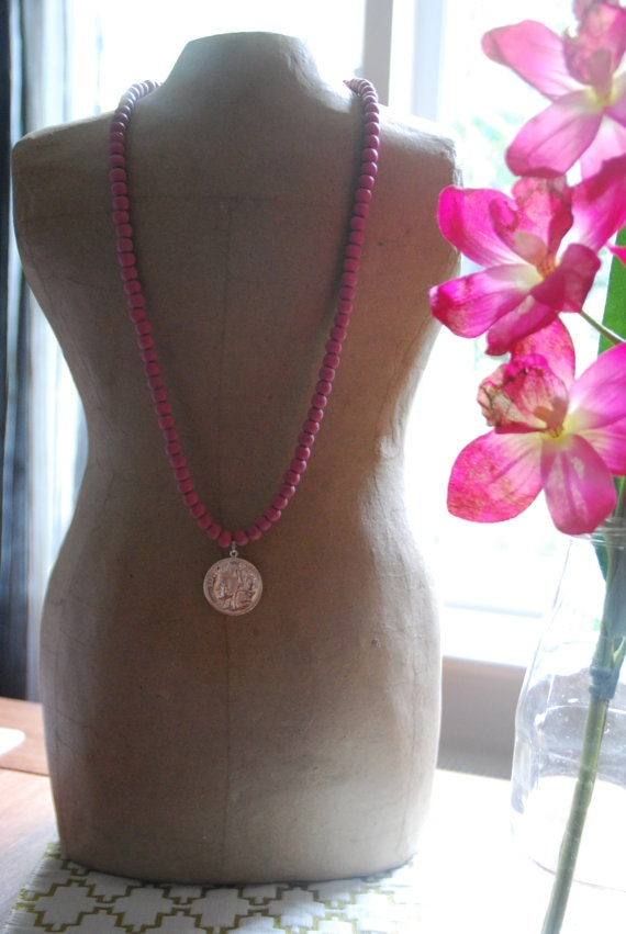 Pink Wooden french coin necklace by becsamdesigns on Etsy, $15.00