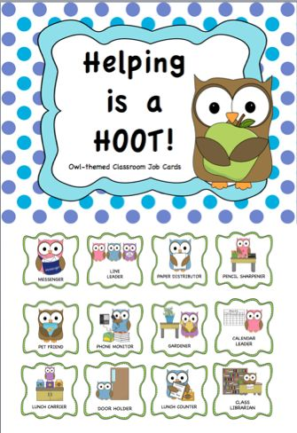 FREEBIE: Classroom Jobs Owl Theme