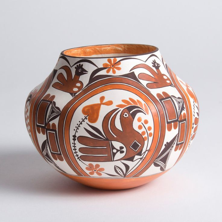 """» """"Parrot with Rainbow Band"""" Mini Acoma Water Jar by Delores Juanico"""