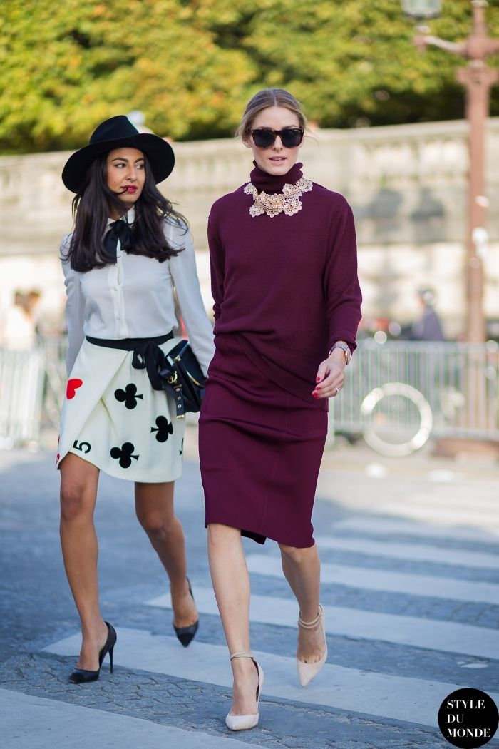 Street style friends. Olivia Palermo and Nausheen Shah at Paris Fashion Week Spring 2015. #PFW