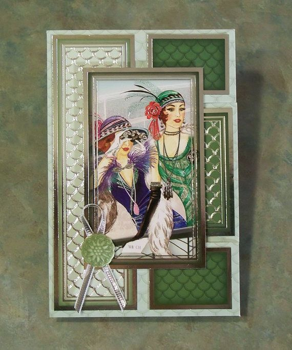 Beautiful Tri-Shutter or Kinetic Card, Roaring 20's. Made using the Ladies Day kit from the Lovely Ladies collection. SOLD