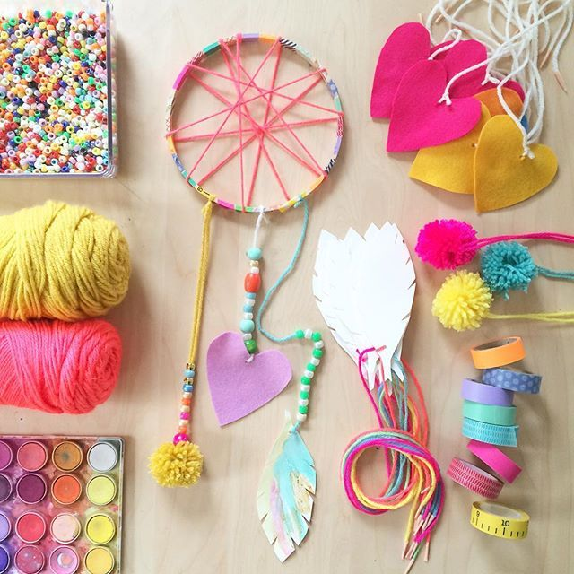 all prepped and ready for another birthday craft party. this time i'll have ten 5yr olds making dream catchers  #artbarbirthdayparties