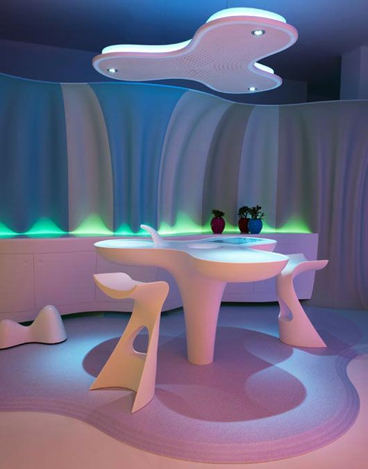 table-Futuristic Home Interior Design by Karim Rashid – Smart-ologic Corian Living