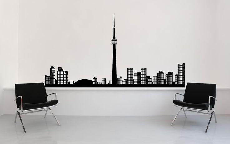 Toronto skyline canada sticker skyline wall decal skyline decal vinyl sticker wall art home office decor bachelor pad decor