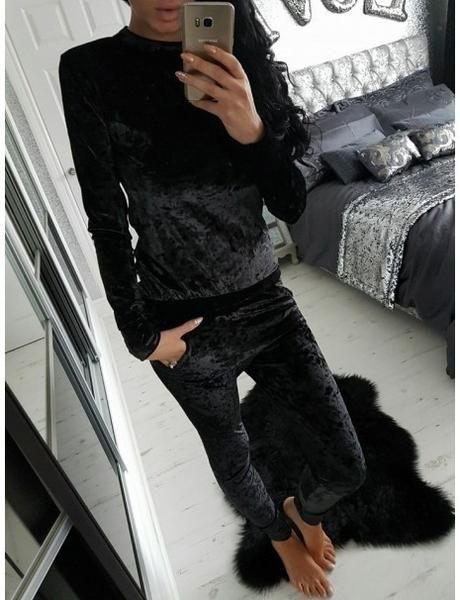 BLACK ALL OVER VELVET TOP AND JOGGER BOTTOM LOUNGE TWO PIECE SET