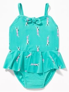 603ffb94d1f7a Printed Tie-Front Peplum Swimsuit for Toddler Girls